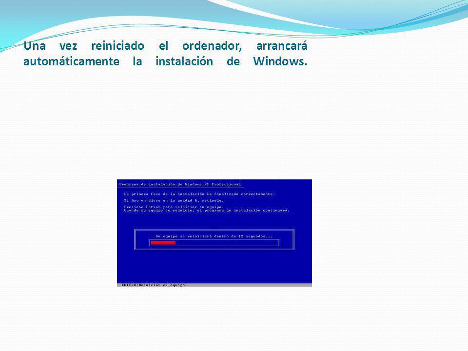 Una vez reiniciado el ordenador, arrancará automáticamente la instalación de Windows.