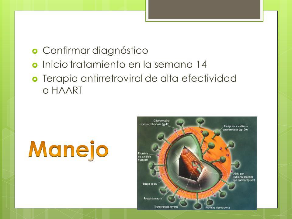 Confirmar diagnóstico Inicio tratamiento en la semana 14 Terapia antirretroviral de alta efectividad o HAART