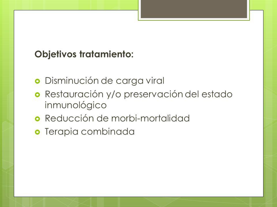 Objetivos tratamiento: Disminución de carga viral Restauración y/o preservación del estado inmunológico Reducción de morbi-mortalidad Terapia combinad