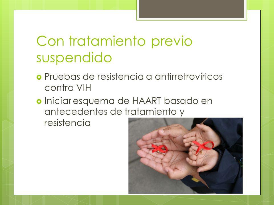 Con tratamiento previo suspendido Pruebas de resistencia a antirretrovíricos contra VIH Iniciar esquema de HAART basado en antecedentes de tratamiento