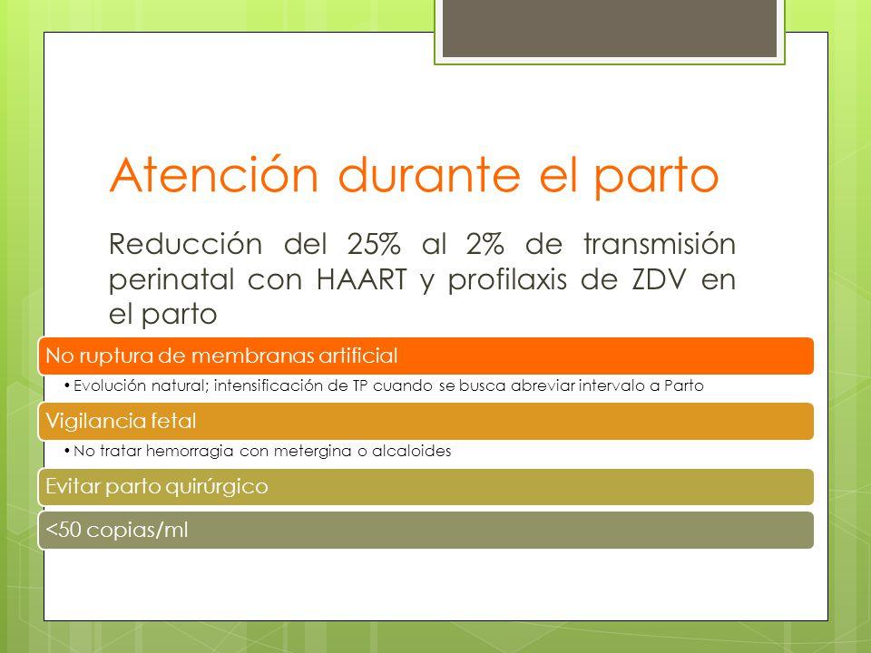 Atención durante el parto Reducción del 25% al 2% de transmisión perinatal con HAART y profilaxis de ZDV en el parto No ruptura de membranas artificia