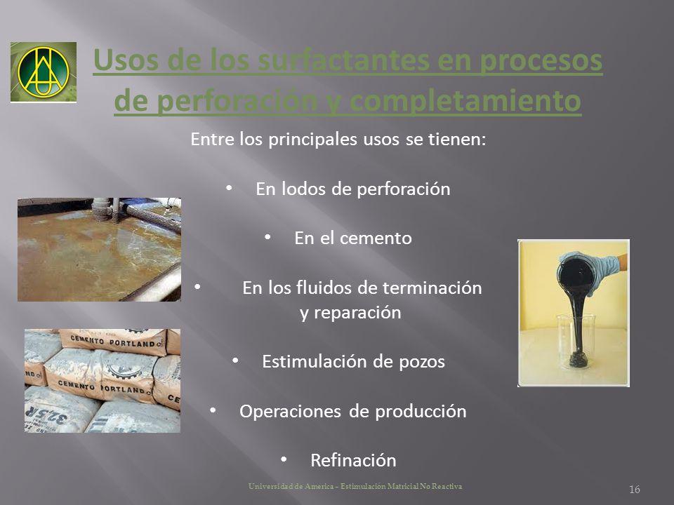 Usos de los surfactantes en procesos de perforación y completamiento Entre los principales usos se tienen: En lodos de perforación En el cemento En lo