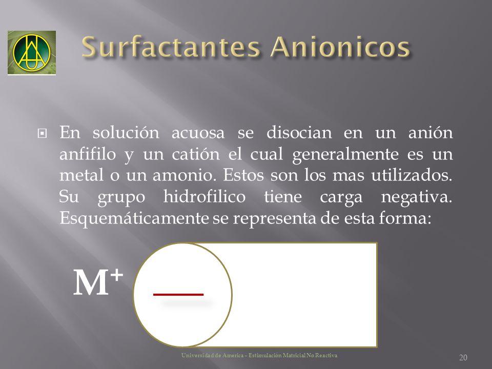 En solución acuosa se disocian en un anión anfifilo y un catión el cual generalmente es un metal o un amonio. Estos son los mas utilizados. Su grupo h