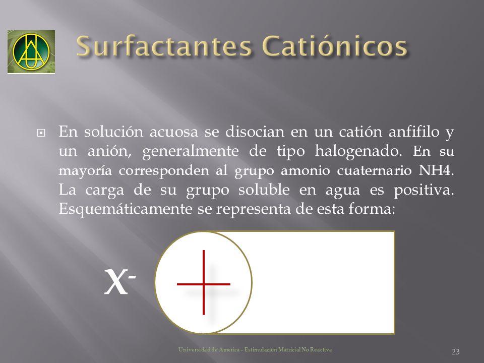 En solución acuosa se disocian en un catión anfifilo y un anión, generalmente de tipo halogenado. En su mayoría corresponden al grupo amonio cuaternar