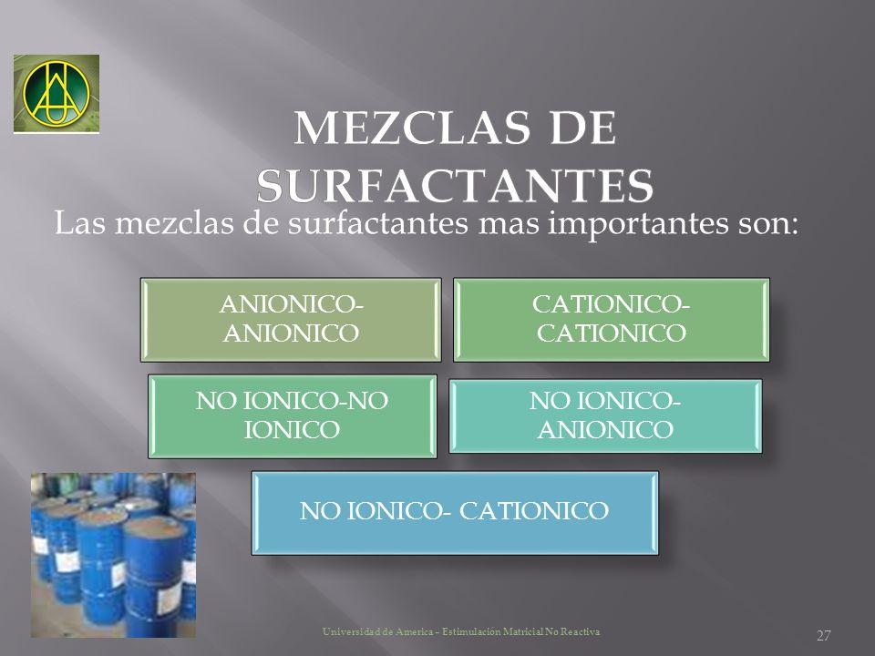 Las mezclas de surfactantes mas importantes son: 27 Universidad de America – Estimulación Matricial No Reactiva ANIONICO- ANIONICO CATIONICO- CATIONIC