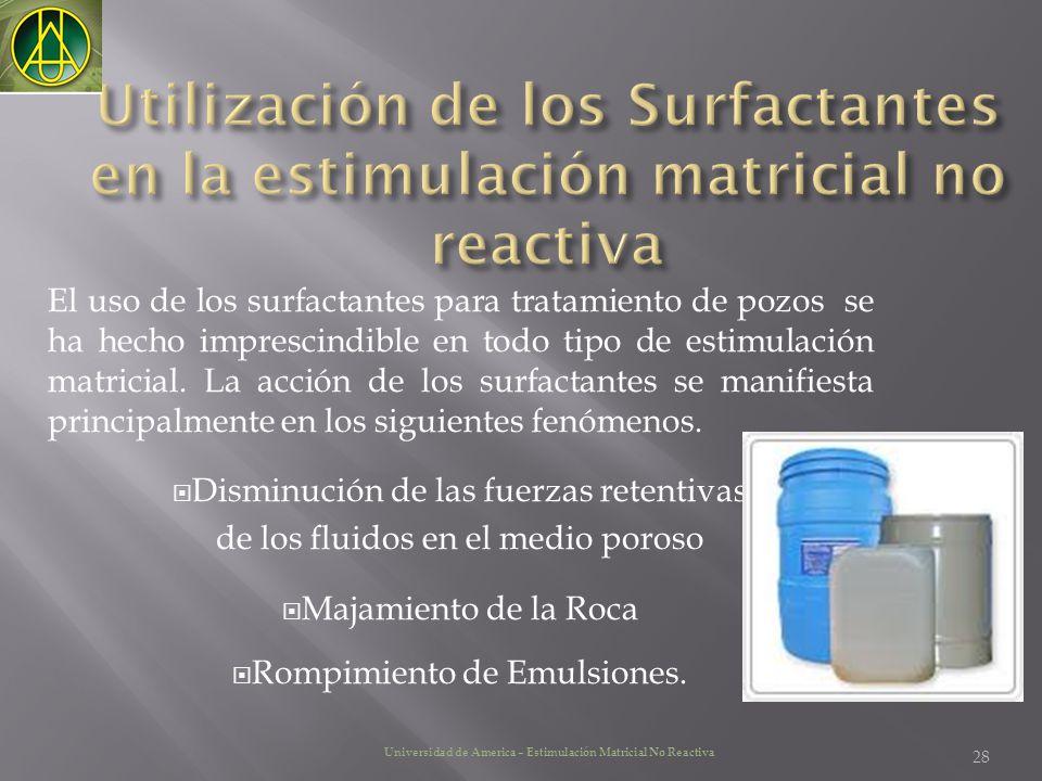 El uso de los surfactantes para tratamiento de pozos se ha hecho imprescindible en todo tipo de estimulación matricial. La acción de los surfactantes