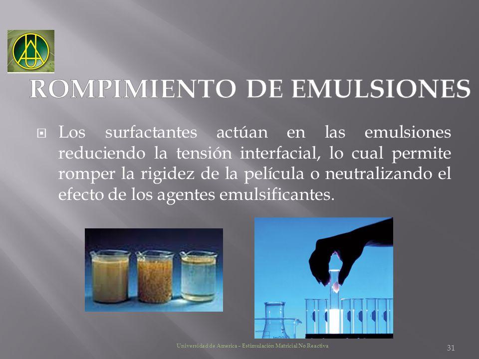 Los surfactantes actúan en las emulsiones reduciendo la tensión interfacial, lo cual permite romper la rigidez de la película o neutralizando el efect