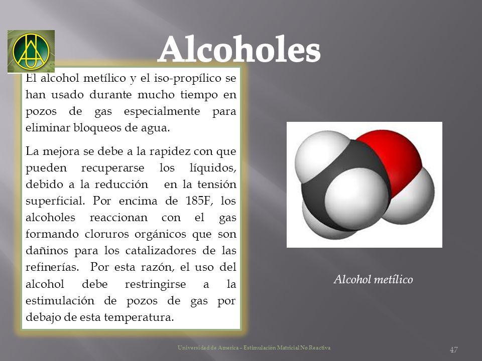 El alcohol metílico y el iso-propílico se han usado durante mucho tiempo en pozos de gas especialmente para eliminar bloqueos de agua. La mejora se de