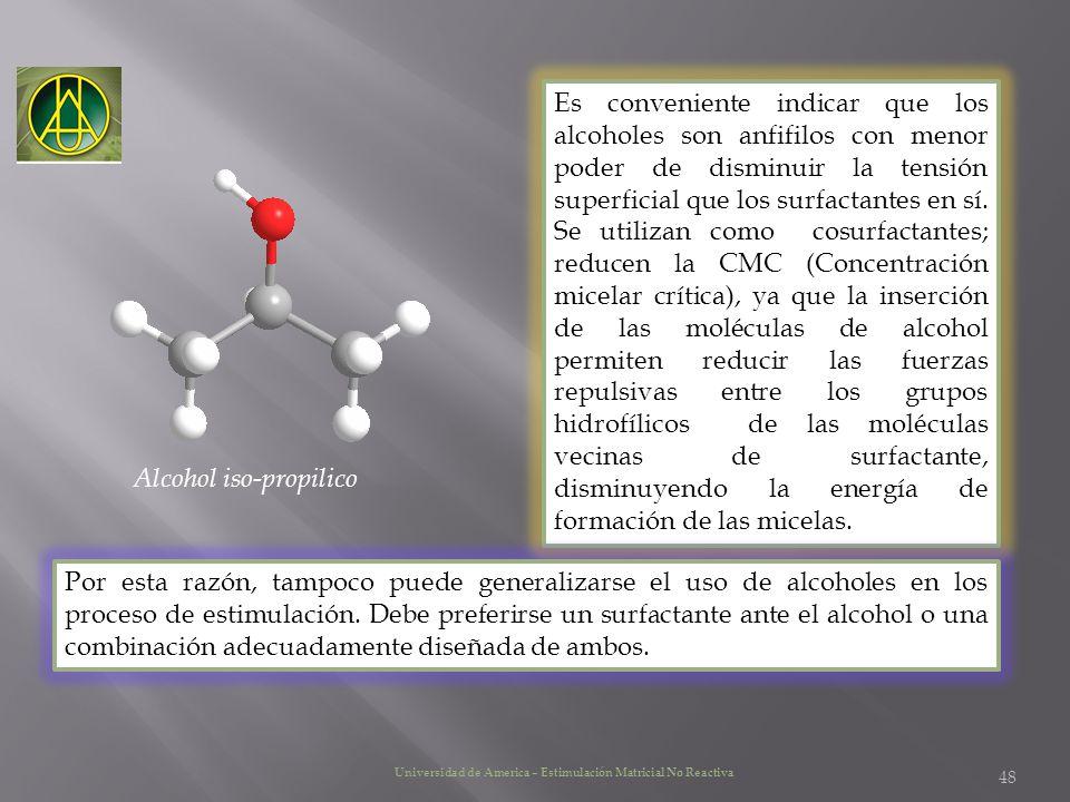 Es conveniente indicar que los alcoholes son anfifilos con menor poder de disminuir la tensión superficial que los surfactantes en sí. Se utilizan com