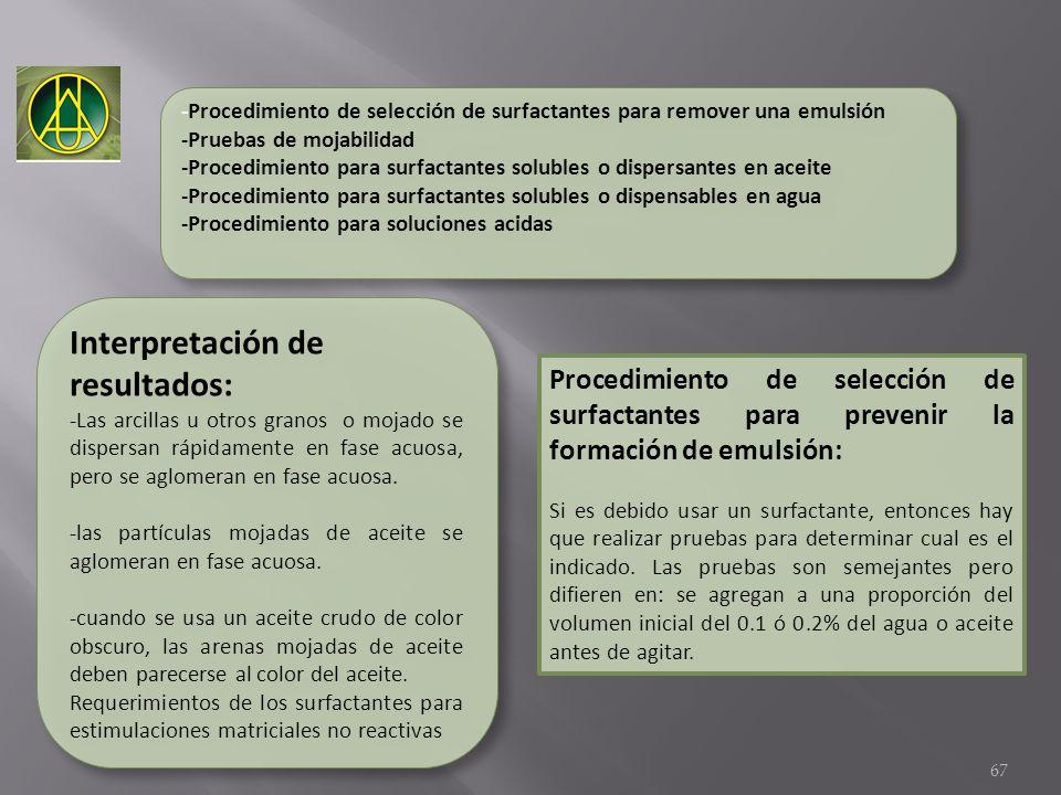 -Procedimiento de selección de surfactantes para remover una emulsión -Pruebas de mojabilidad -Procedimiento para surfactantes solubles o dispersantes