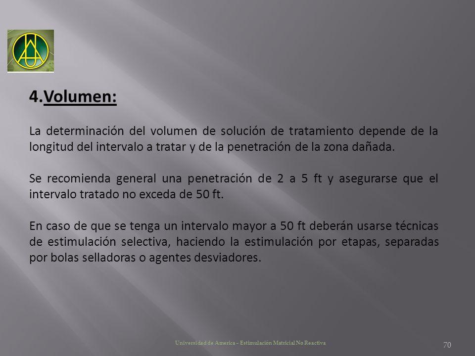 Universidad de America – Estimulación Matricial No Reactiva 4.Volumen: La determinación del volumen de solución de tratamiento depende de la longitud