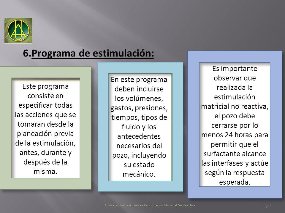 Universidad de America – Estimulación Matricial No Reactiva 6.Programa de estimulación: Es importante observar que realizada la estimulación matricial