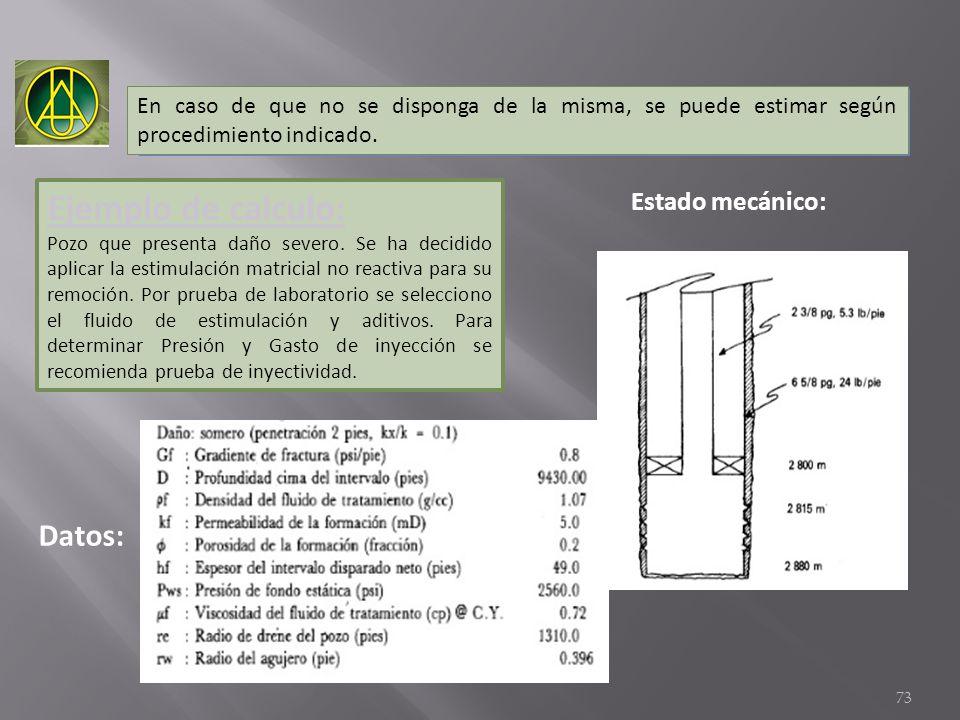 En caso de que no se disponga de la misma, se puede estimar según procedimiento indicado. Datos: Ejemplo de calculo: Pozo que presenta daño severo. Se