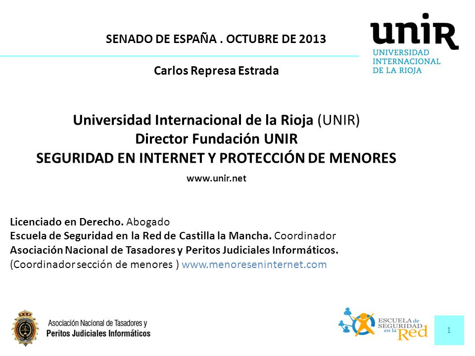 1 SENADO DE ESPAÑA. OCTUBRE DE 2013 Carlos Represa Estrada Universidad Internacional de la Rioja (UNIR) Director Fundación UNIR SEGURIDAD EN INTERNET