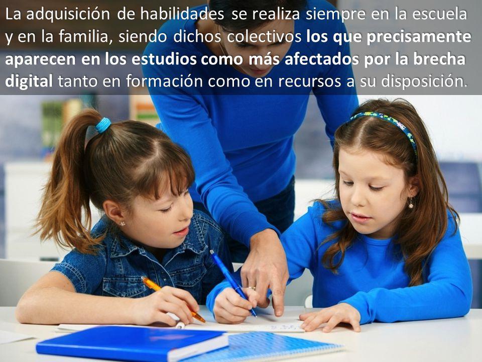 12 La adquisición de habilidades se realiza siempre en la escuela y en la familia, siendo dichos colectivos los que precisamente aparecen en los estud
