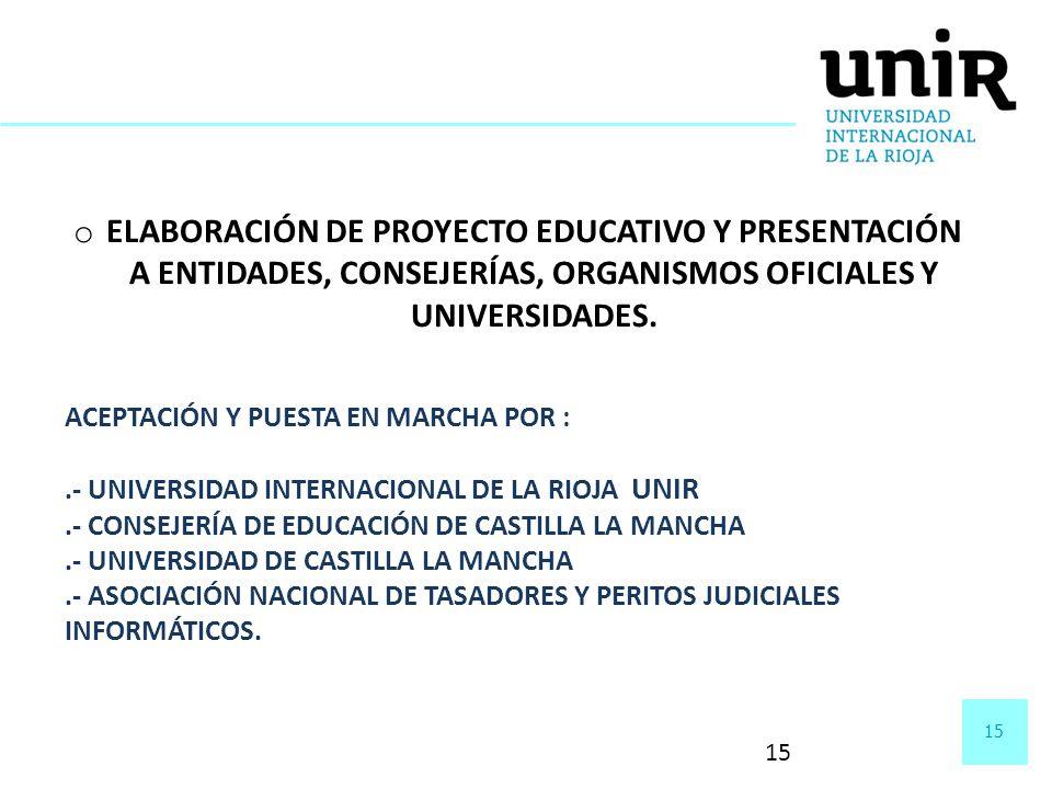 15 o ELABORACIÓN DE PROYECTO EDUCATIVO Y PRESENTACIÓN A ENTIDADES, CONSEJERÍAS, ORGANISMOS OFICIALES Y UNIVERSIDADES. ACEPTACIÓN Y PUESTA EN MARCHA PO