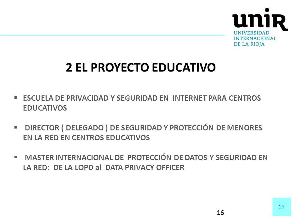 16 2 EL PROYECTO EDUCATIVO ESCUELA DE PRIVACIDAD Y SEGURIDAD EN INTERNET PARA CENTROS EDUCATIVOS DIRECTOR ( DELEGADO ) DE SEGURIDAD Y PROTECCIÓN DE ME
