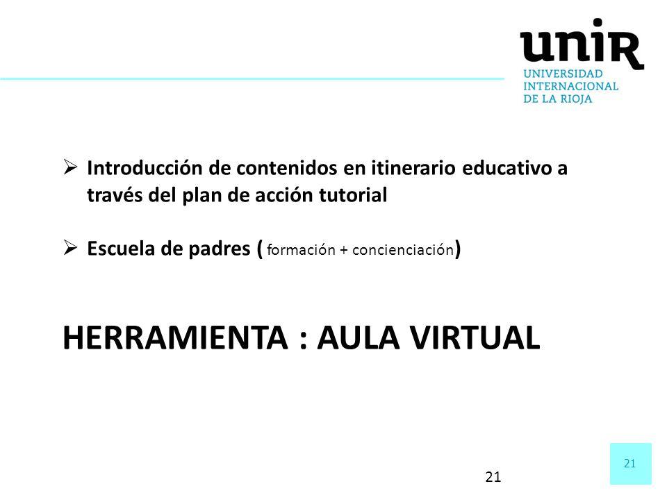 21 Introducción de contenidos en itinerario educativo a través del plan de acción tutorial Escuela de padres ( formación + concienciación ) HERRAMIENT