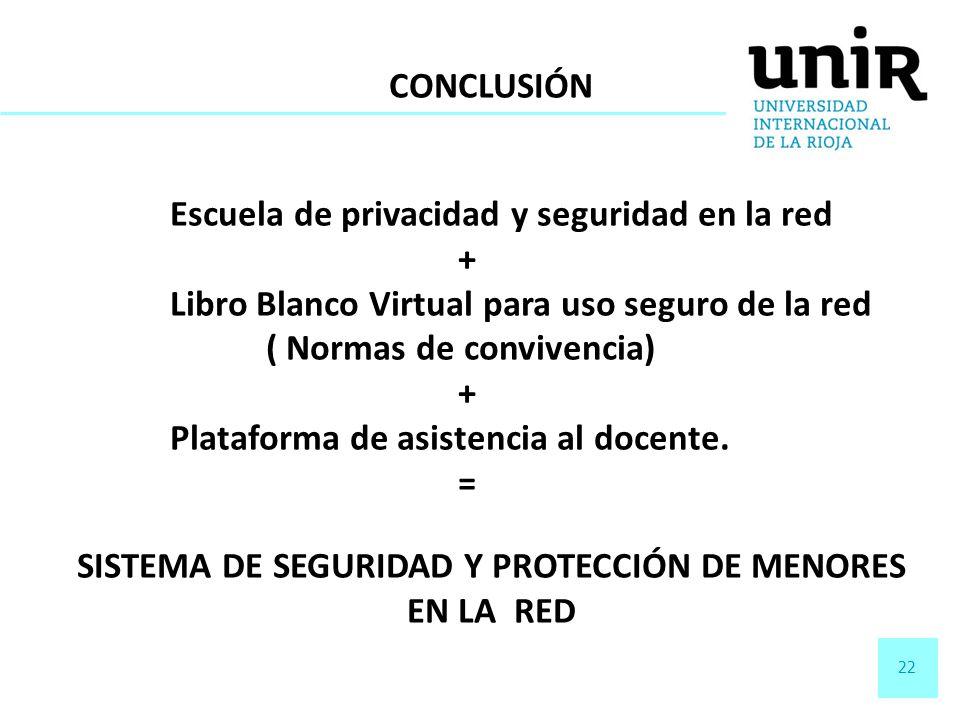 22 CONCLUSIÓN Escuela de privacidad y seguridad en la red + Libro Blanco Virtual para uso seguro de la red ( Normas de convivencia) + Plataforma de as