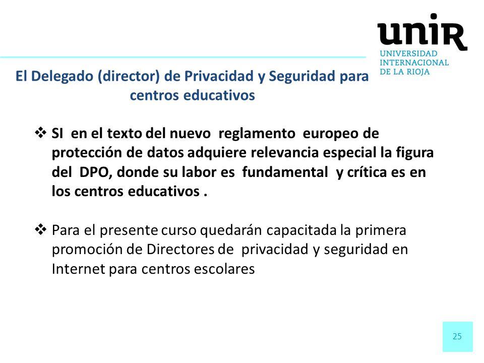 25 El Delegado (director) de Privacidad y Seguridad para centros educativos SI en el texto del nuevo reglamento europeo de protección de datos adquier