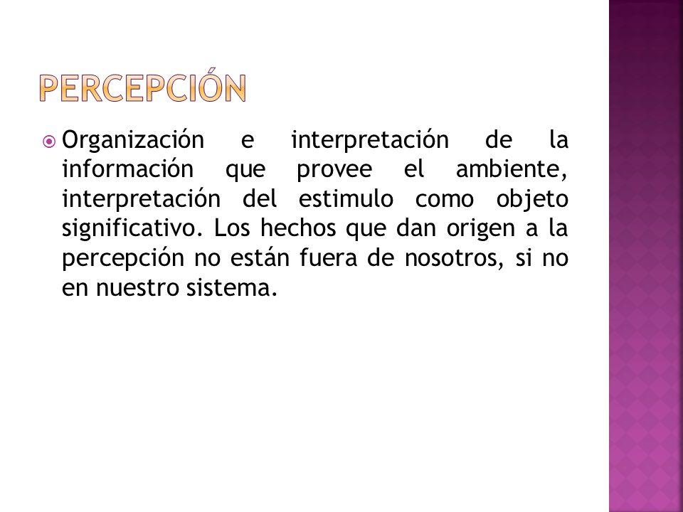 Organización e interpretación de la información que provee el ambiente, interpretación del estimulo como objeto significativo. Los hechos que dan orig