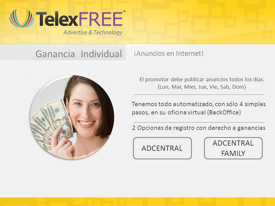 Ganancia Individual ADCENTRAL (1 anuncio por dia) * Una cuenta 99Telexfree ADCENTRAL Su central de anuncios 1 anuncio por día
