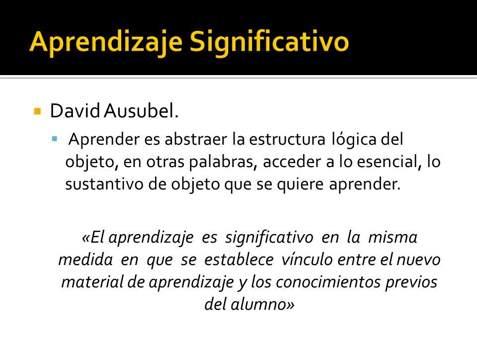 David Ausubel. Aprender es abstraer la estructura lógica del objeto, en otras palabras, acceder a lo esencial, lo sustantivo de objeto que se quiere a