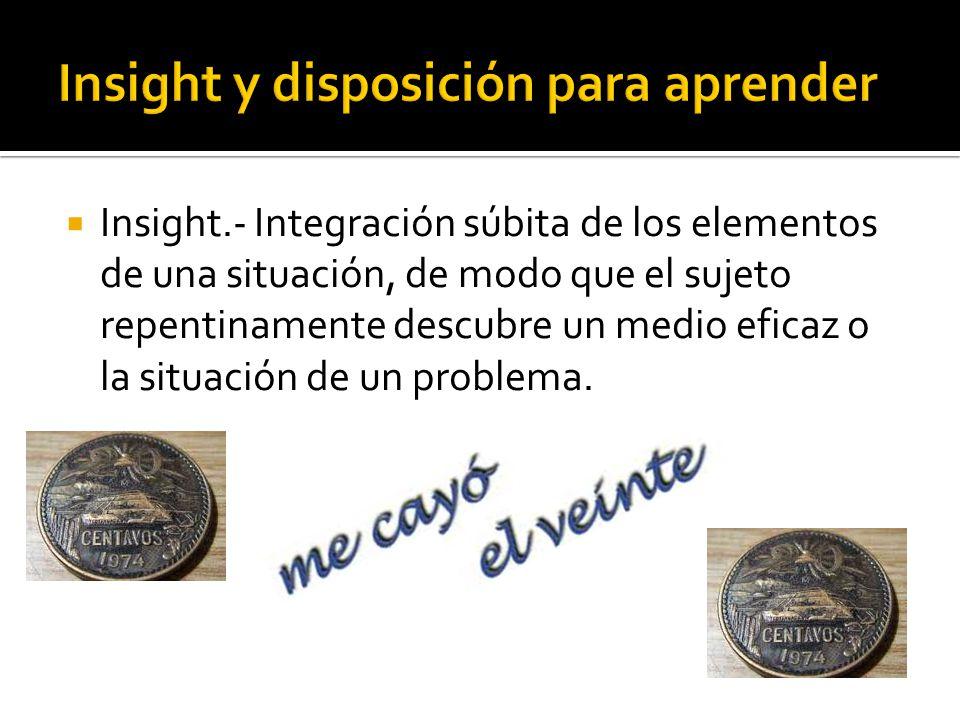 Insight.- Integración súbita de los elementos de una situación, de modo que el sujeto repentinamente descubre un medio eficaz o la situación de un pro