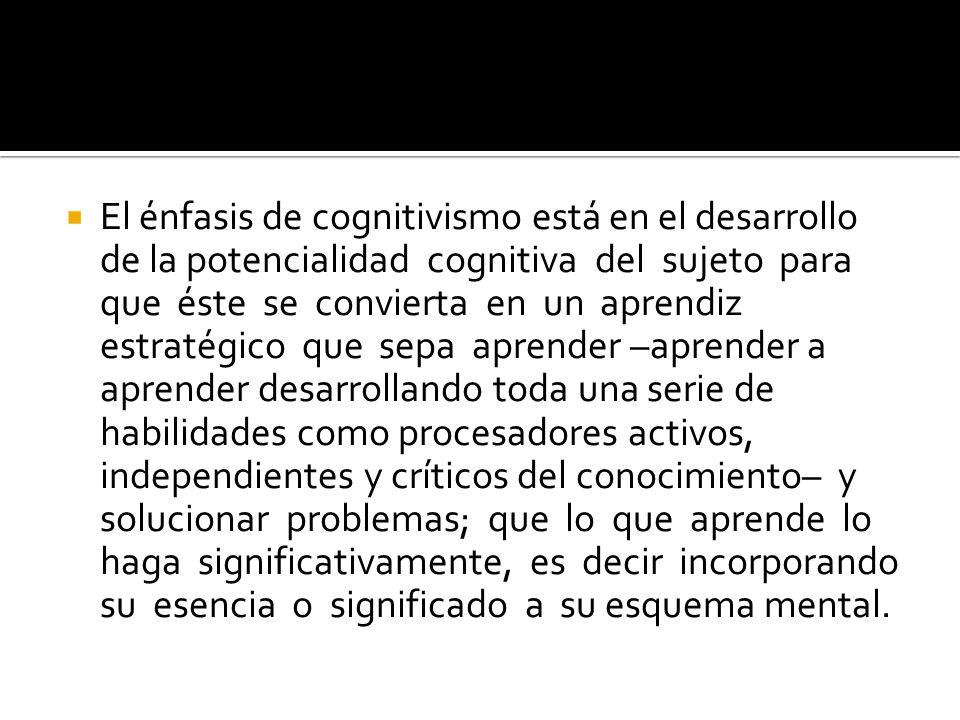 El énfasis de cognitivismo está en el desarrollo de la potencialidad cognitiva del sujeto para que éste se convierta en un aprendiz estratégico que se