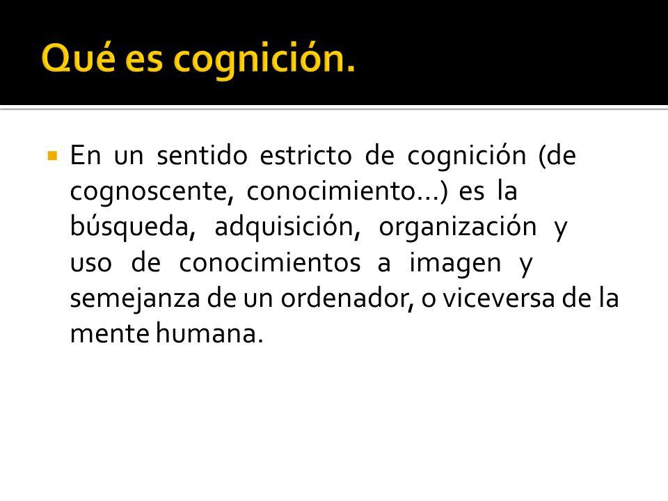 En un sentido estricto de cognición (de cognoscente, conocimiento…) es la búsqueda, adquisición, organización y uso de conocimientos a imagen y semeja