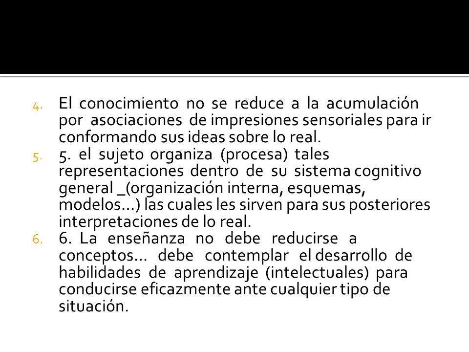 4. El conocimiento no se reduce a la acumulación por asociaciones de impresiones sensoriales para ir conformando sus ideas sobre lo real. 5. 5. el suj