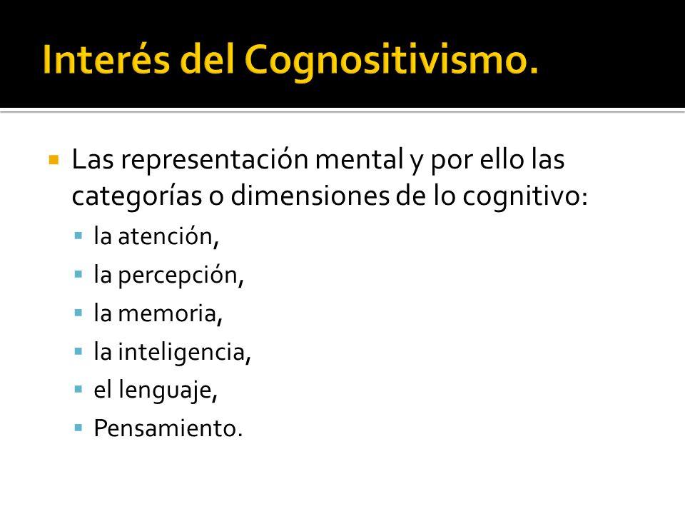 Las representación mental y por ello las categorías o dimensiones de lo cognitivo: la atención, la percepción, la memoria, la inteligencia, el lenguaj