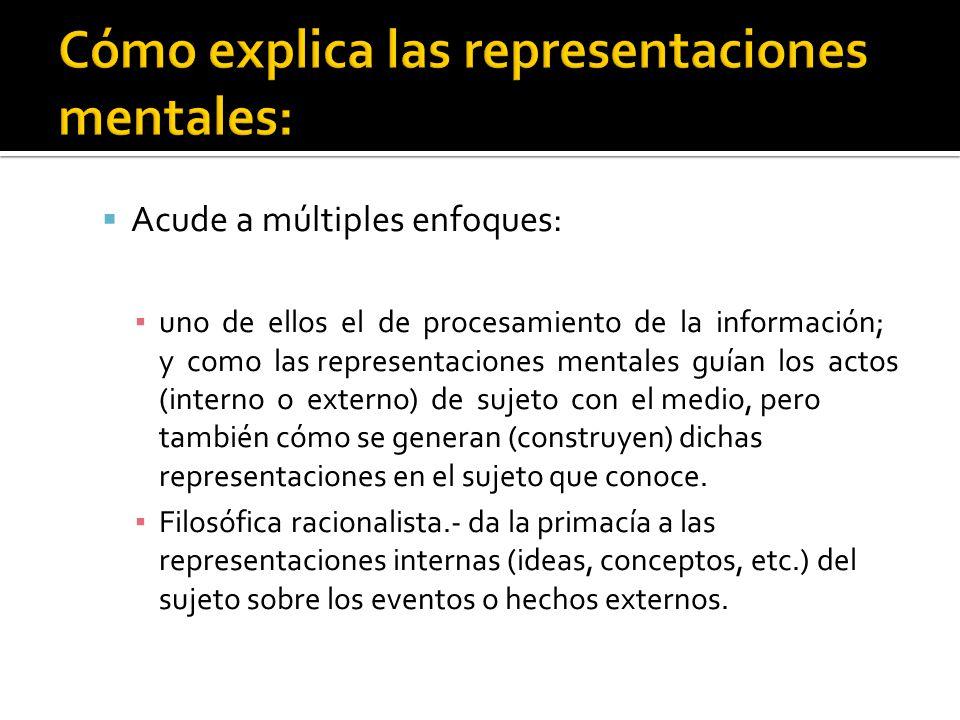 Acude a múltiples enfoques: uno de ellos el de procesamiento de la información; y como las representaciones mentales guían los actos (interno o extern