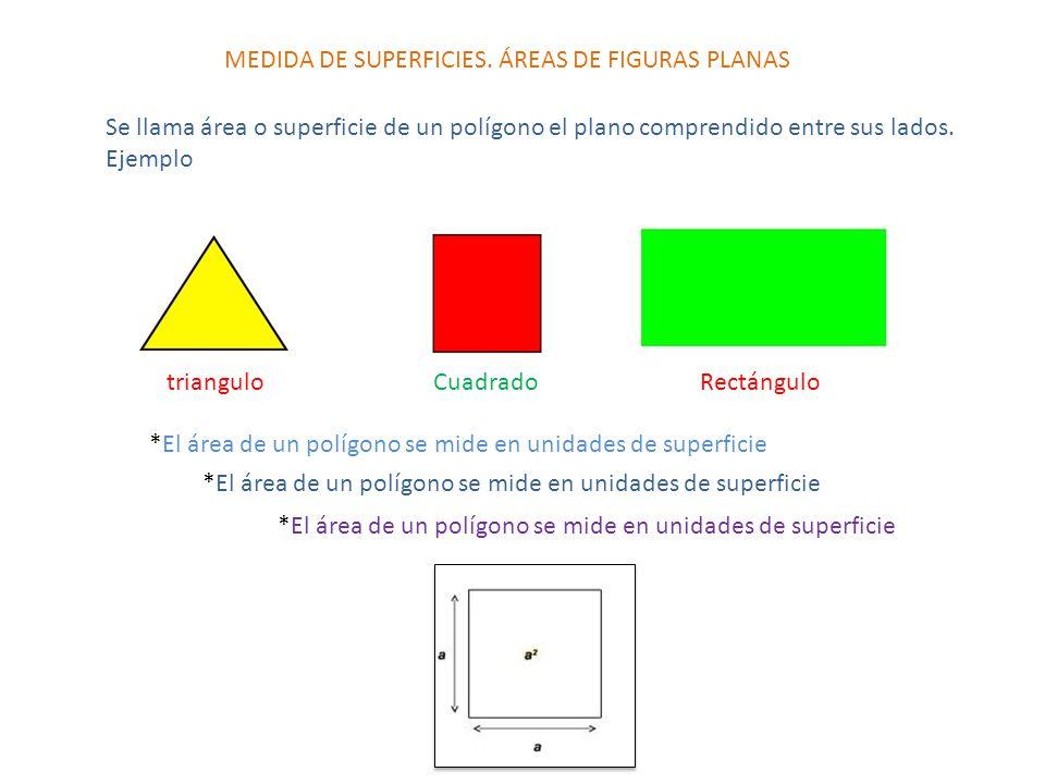 Cálculo de áreas de figuras sencilla Área del cuadrado A= L 2 Para calcular el área de un cuadrado, tomamos uno de sus lados y lo elevamos al cuadrado Ejemplo: Calcular el área de un cuadrado de 5 cm de lado.