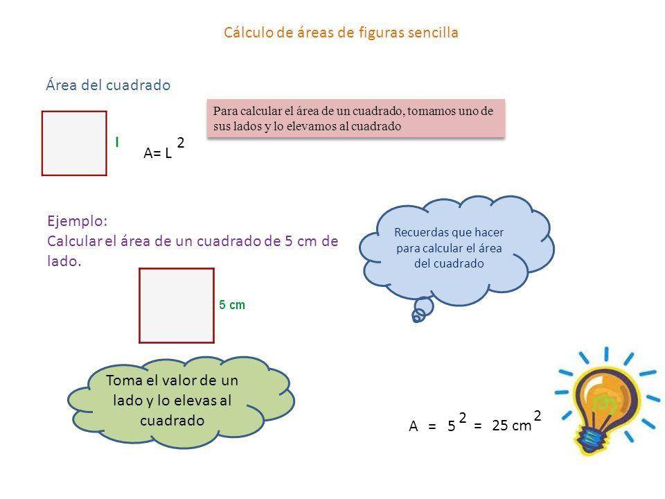Cálculo de áreas de figuras sencilla Área del cuadrado A= L 2 Para calcular el área de un cuadrado, tomamos uno de sus lados y lo elevamos al cuadrado