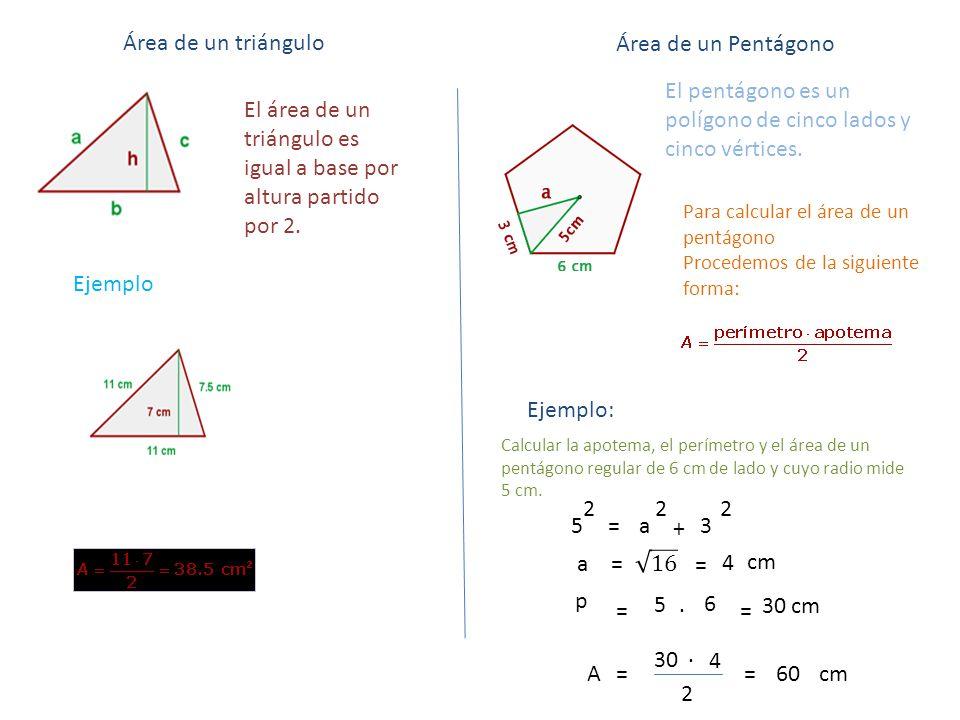 Área de un triángulo El área de un triángulo es igual a base por altura partido por 2. Ejemplo El pentágono es un polígono de cinco lados y cinco vért