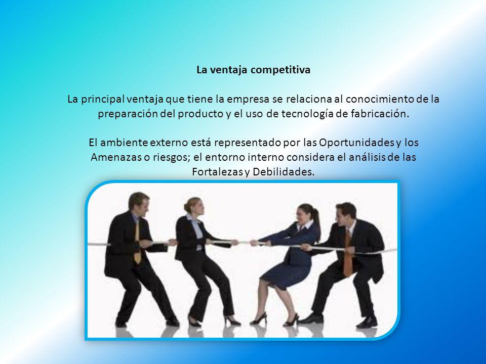 La ventaja competitiva La principal ventaja que tiene la empresa se relaciona al conocimiento de la preparación del producto y el uso de tecnología de
