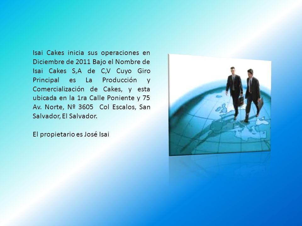 Isai Cakes inicia sus operaciones en Diciembre de 2011 Bajo el Nombre de Isai Cakes S,A de C,V Cuyo Giro Principal es La Producción y Comercialización