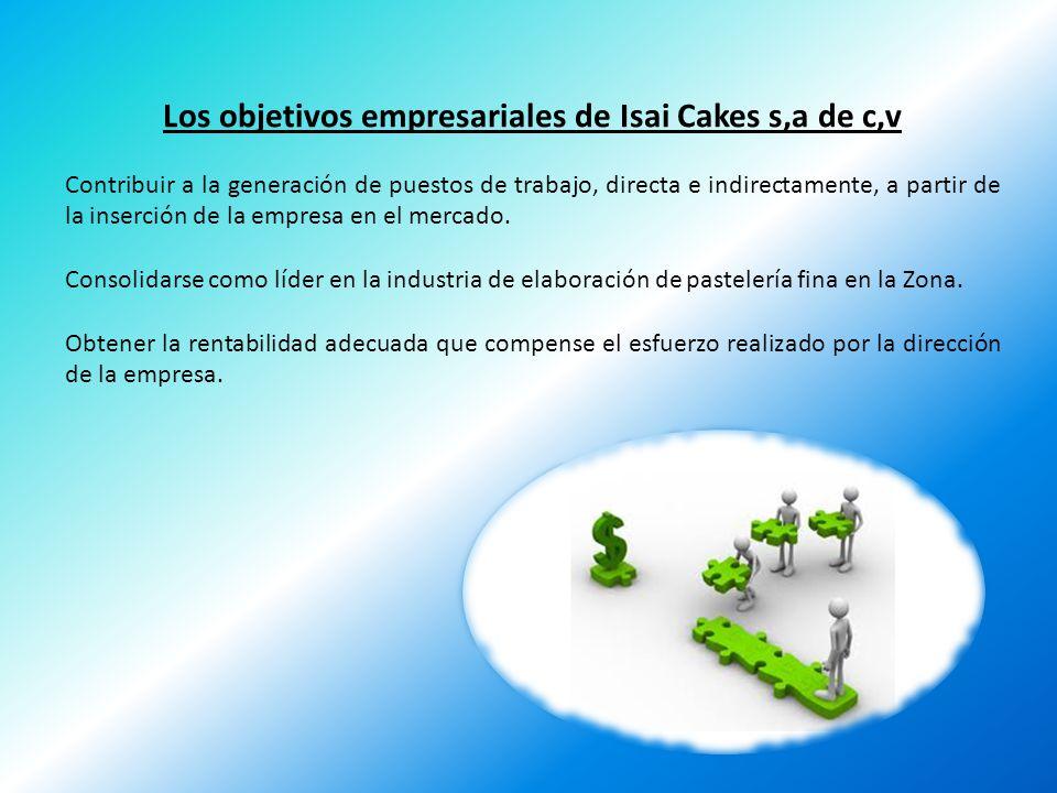 Los objetivos empresariales de Isai Cakes s,a de c,v Contribuir a la generación de puestos de trabajo, directa e indirectamente, a partir de la inserc