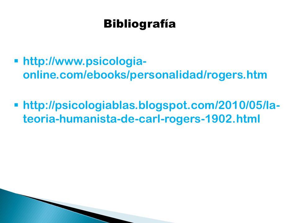 Bibliografía http://www.psicologia- online.com/ebooks/personalidad/rogers.htm http://psicologiablas.blogspot.com/2010/05/la- teoria-humanista-de-carl-rogers-1902.html