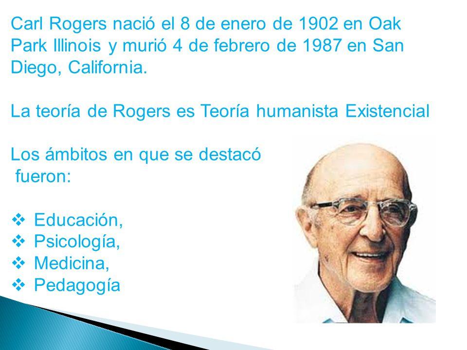 Carl Rogers nació el 8 de enero de 1902 en Oak Park Illinois y murió 4 de febrero de 1987 en San Diego, California. La teoría de Rogers es Teoría huma