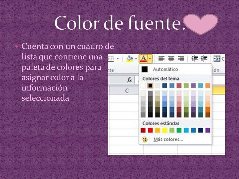 Cuenta con un cuadro de lista que contiene una paleta de colores para asignar color a la información seleccionada