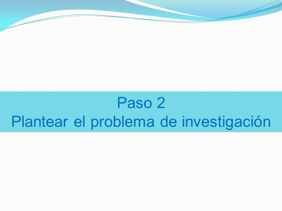 Paso 2 Plantear el problema de investigación