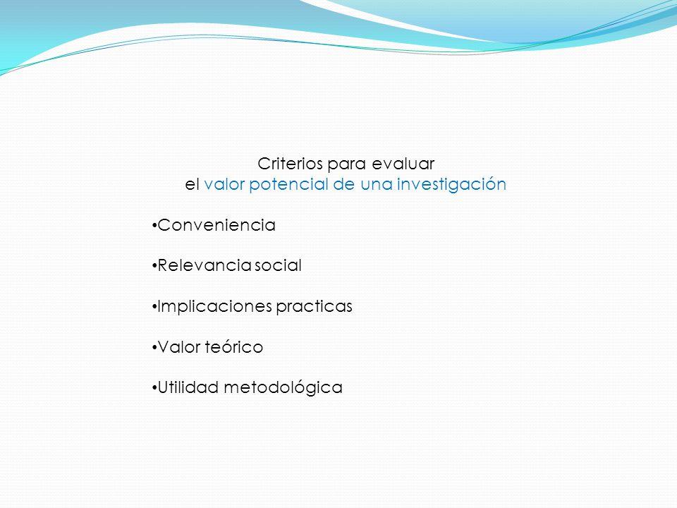 Criterios para evaluar el valor potencial de una investigación Conveniencia Relevancia social Implicaciones practicas Valor teórico Utilidad metodológica
