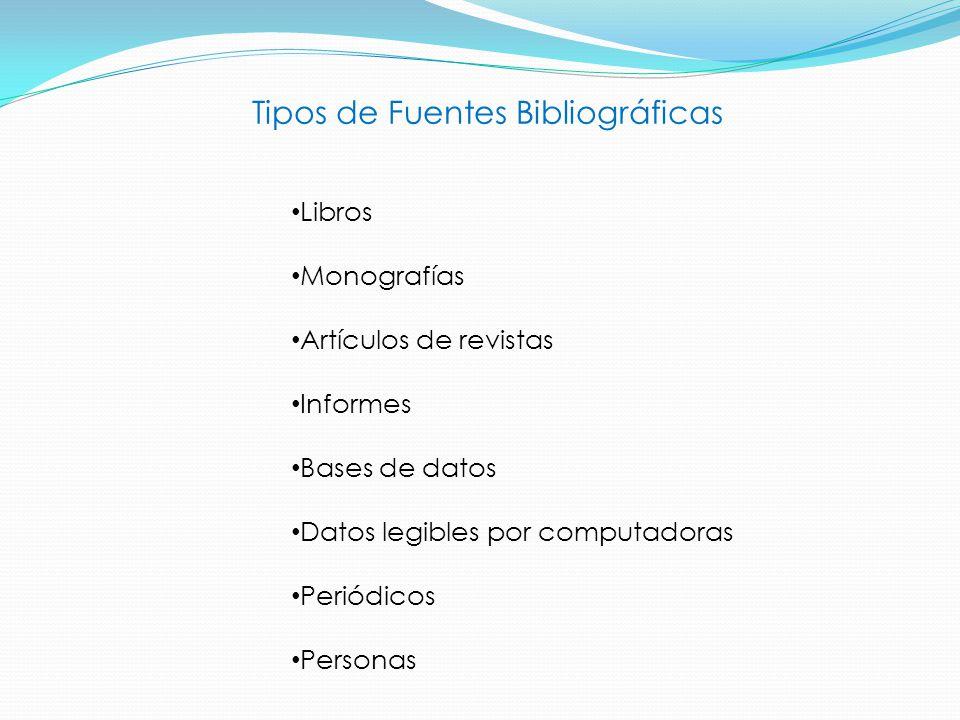 Tipos de Fuentes Bibliográficas Libros Monografías Artículos de revistas Informes Bases de datos Datos legibles por computadoras Periódicos Personas