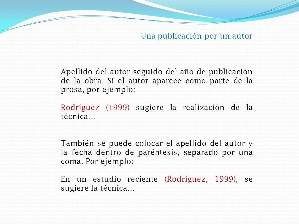 Una publicación por un autor Apellido del autor seguido del año de publicación de la obra.