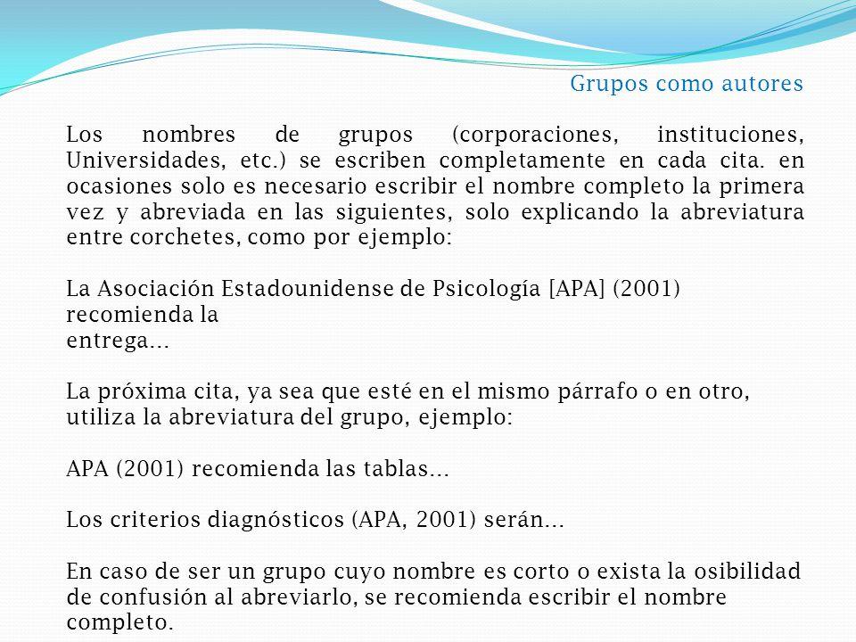 Grupos como autores Los nombres de grupos (corporaciones, instituciones, Universidades, etc.) se escriben completamente en cada cita.