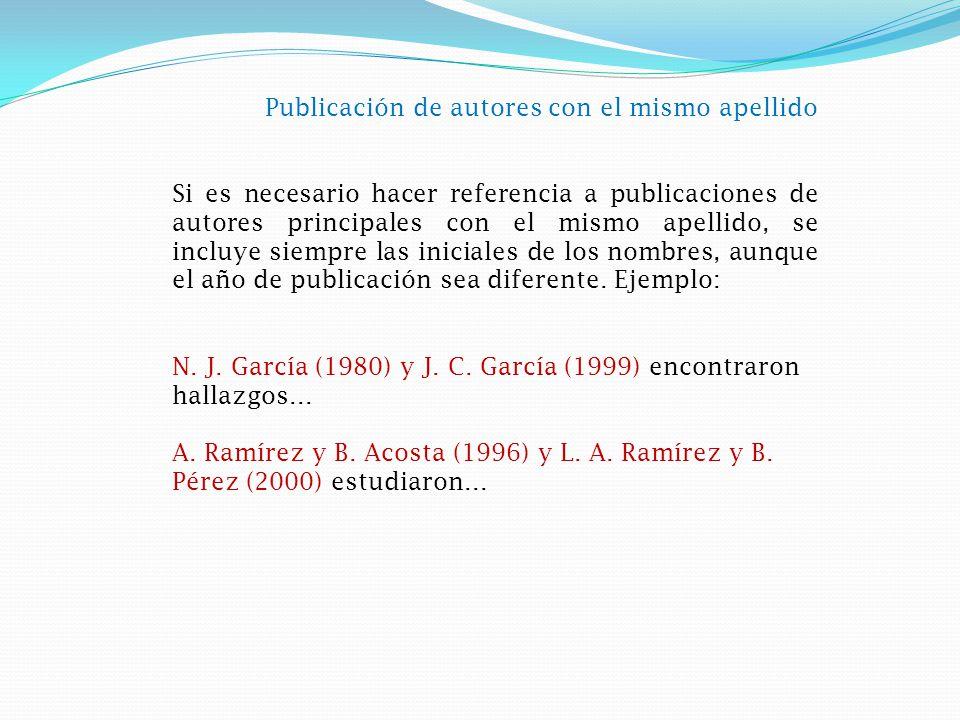 Publicación de autores con el mismo apellido Si es necesario hacer referencia a publicaciones de autores principales con el mismo apellido, se incluye siempre las iniciales de los nombres, aunque el año de publicación sea diferente.