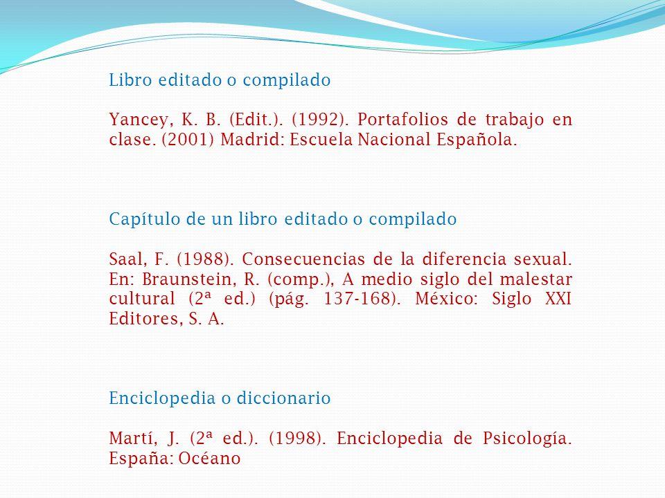 Libro editado o compilado Yancey, K.B. (Edit.). (1992).