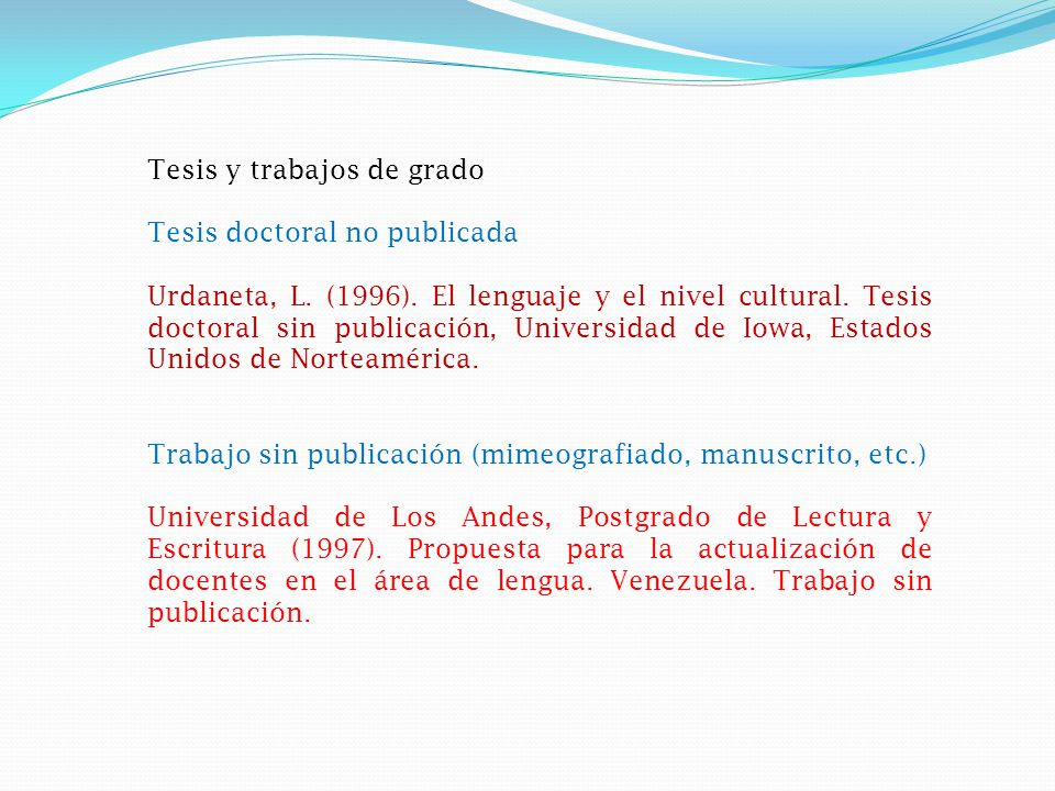 Tesis y trabajos de grado Tesis doctoral no publicada Urdaneta, L.